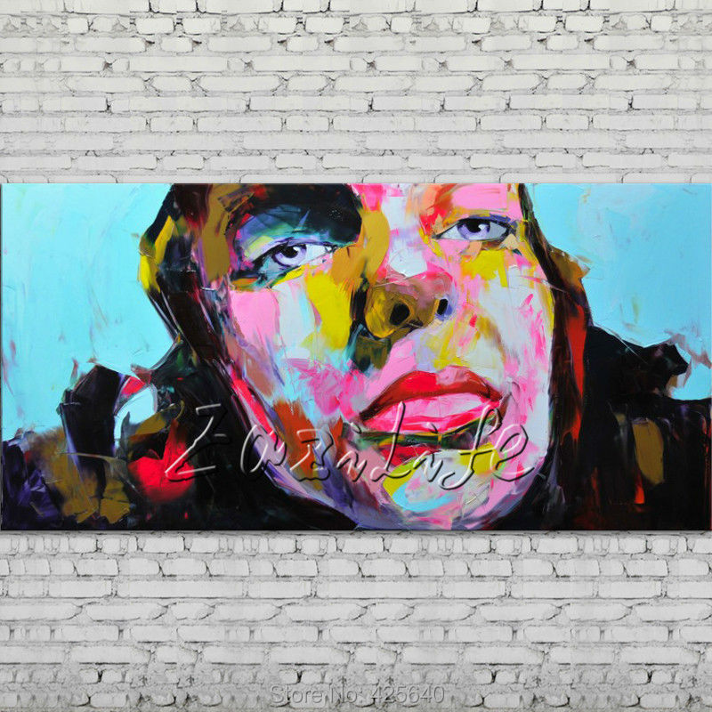 Palette knife portrait Face Oil painting Character figure canva Hand painted Francoise Nielly Art picture  room05Palette knife portrait Face Oil painting Character figure canva Hand painted Francoise Nielly Art picture  room05