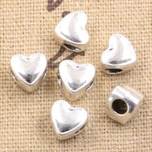 Pingente coração 8x7x9mm, buraco grande 3.5mm, cor prata antiga, miçangas, encantos, faça você mesmo, 15 peças pingentes pulseira contas jóias