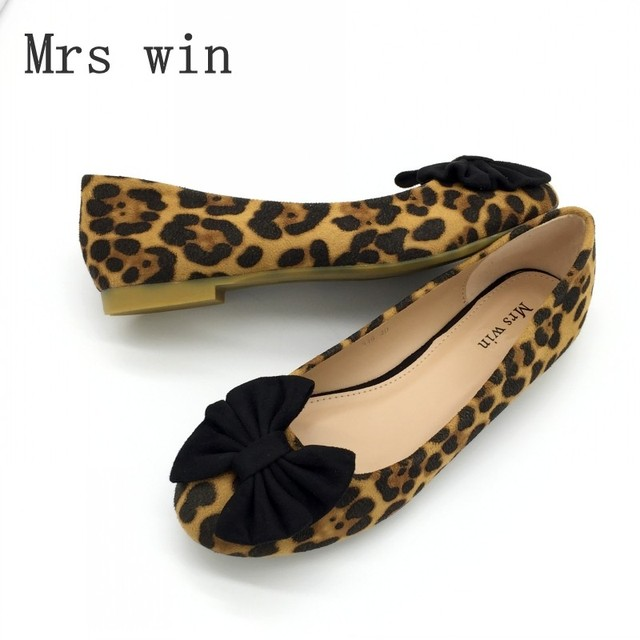 Fashion Leopard Print Bowtie Women's Flats Spring Autumn Flock Round Toe Slip On Ballet Flats For Woman Ladies Casual Boat Shoes