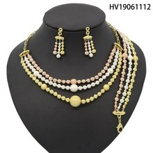Yulaili 2019 Round Shape Tricolor Pendant Earrings Dubai Gold Jewelry New Fashion African Wedding Bridal Costume Jewelry Sets(China)
