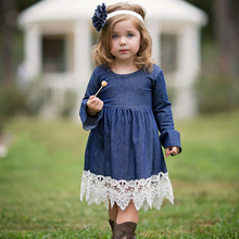 2017 Spring Girls Princess Dress Children Clothing Denim Lace Evening Dress Kids Long Sleeve Party Dresses Baby Girl Costume