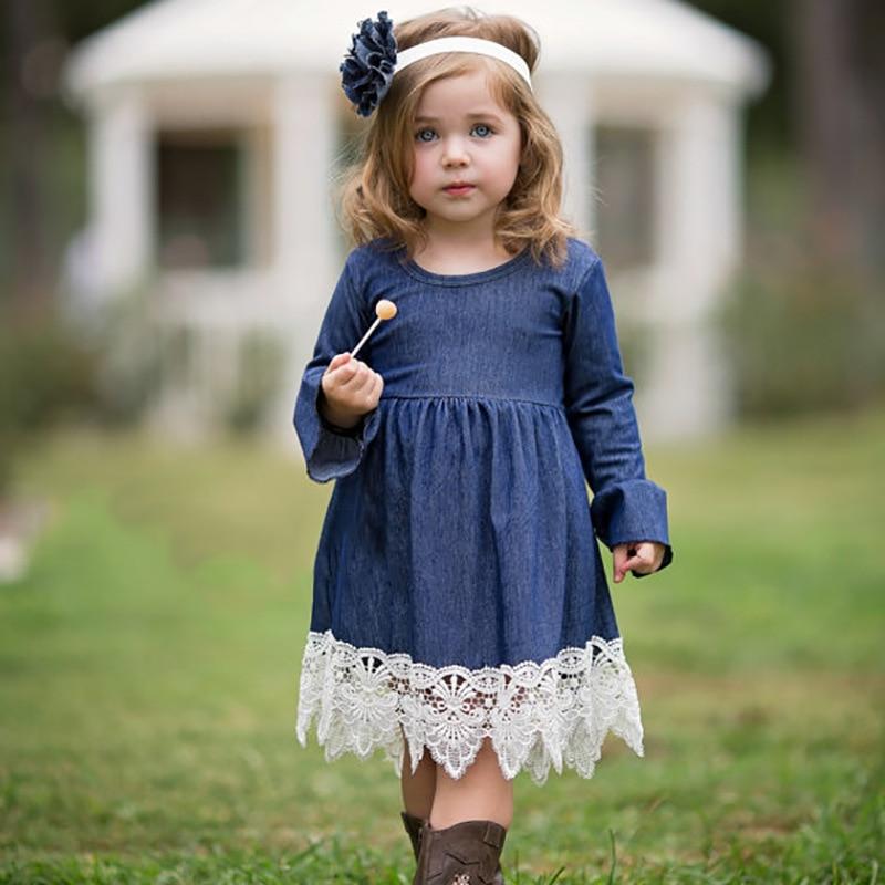 2018 frühling Mädchen Prinzessin Kleid Kinder Kleidung Denim Spitze Abendkleid Kinder Langarm Party Kleider Baby Mädchen Kostüm