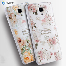 For xiaomi mi4 Case Luxury Transparent Soft TPU 3D Relief Print Back Flip Cover Case Hot New Style