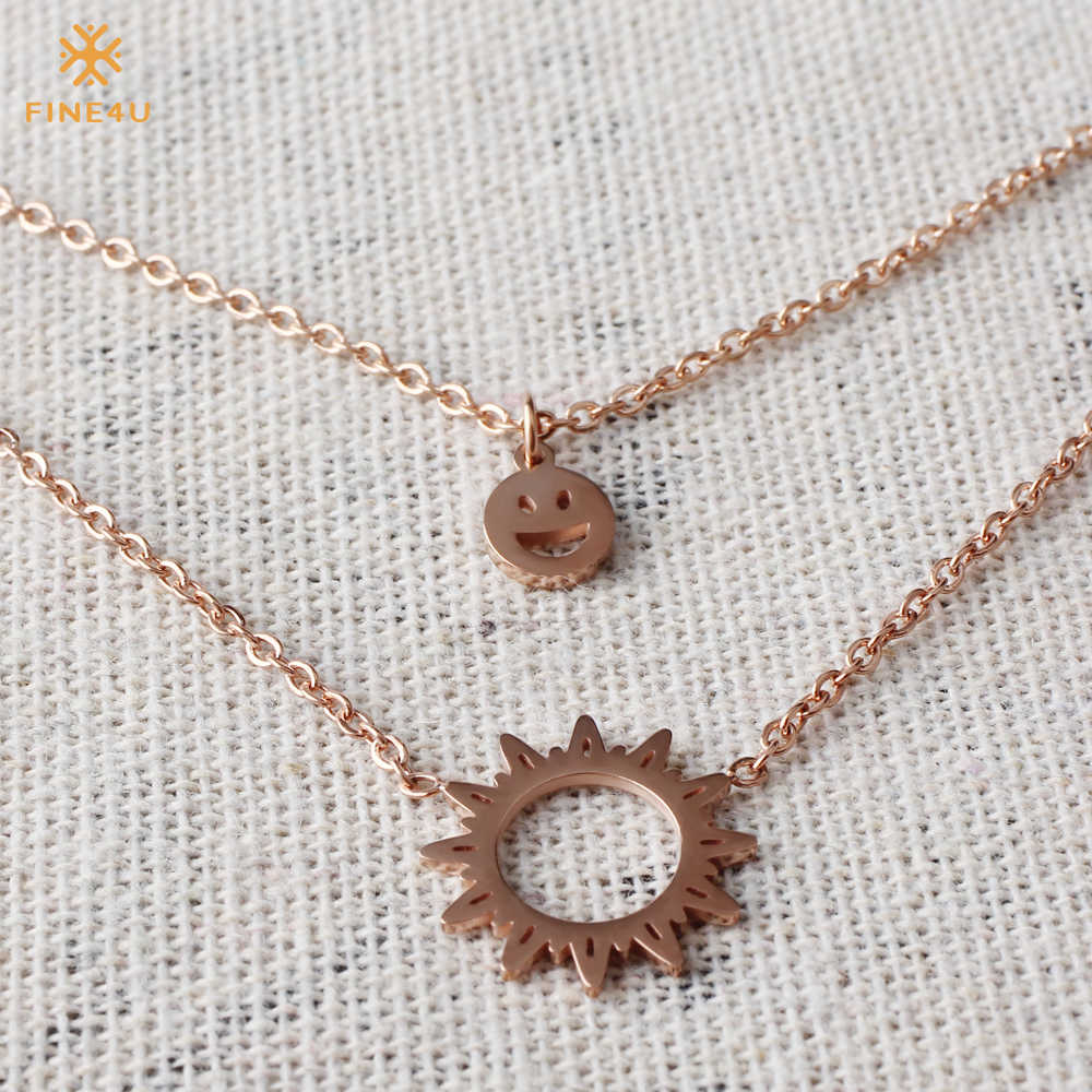 FINE4U N112 Double Layer Sun Pendant Necklace 316L Stainless Steel Choker Necklaces For Women 2019 Gold Collier Jewelry