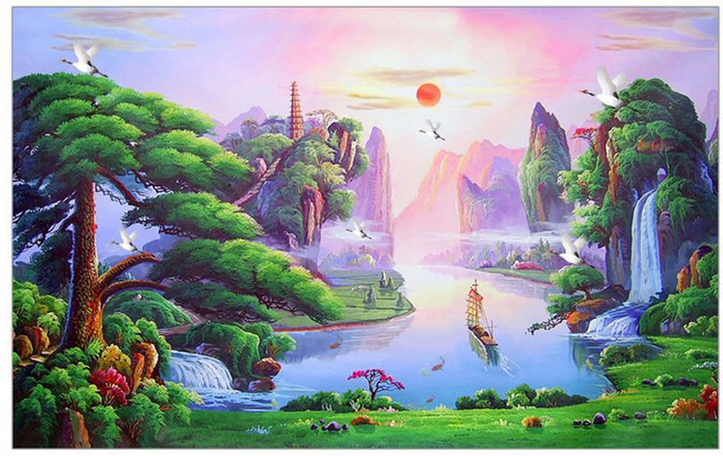 3d Wall Murals Wallpaper Chinese Landscape Painting High End Mural For Tv Sofa Background Papel De Parede Floral In Wallpapers From Home