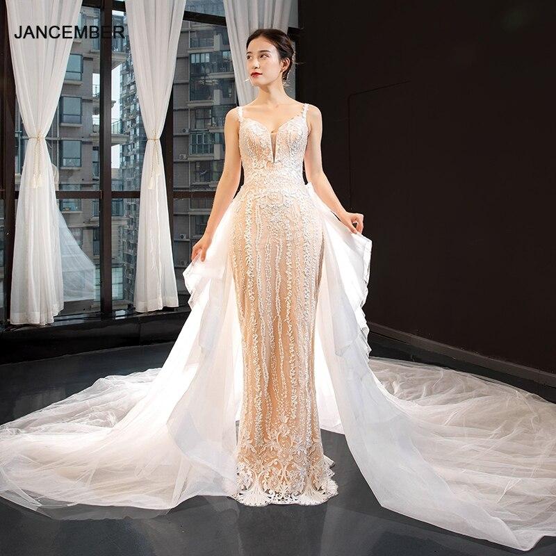 J66875 Jancember Wedding Dresses Detachable Train Thin Shoulder Sleeveless Lace Sheath Spaghetti Straps Robe De Mariée