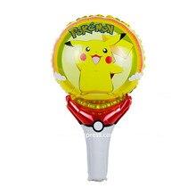 10pcs/lot Pokemon Pikachu Helium Ballon With Pokeball Holding Sticks