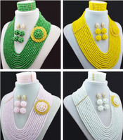 Green Yellow White 16 Colors African Beads Jewelry Set Nigerian Beads Jewelry Set for Wedding 2016 Fashion Jewelry Set