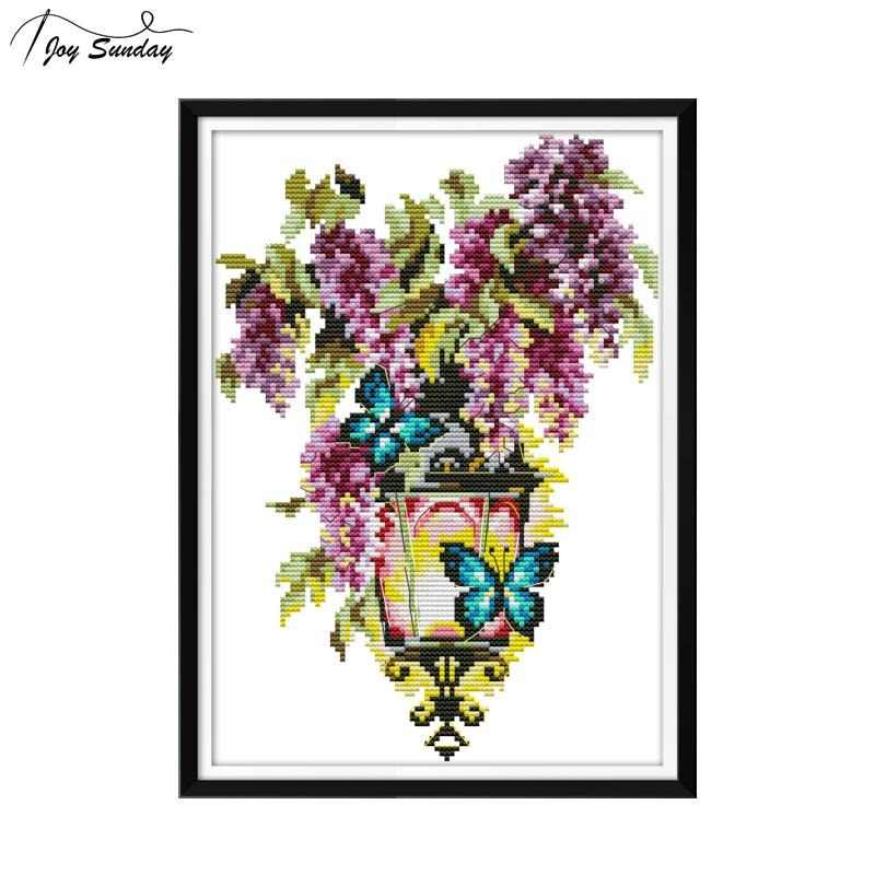 Joy Sunday Cross Stitch Flowers Counted Printed On Canvas 14ct Aida Fabric DMC Embroidery Floss 11ct DIY Cross Stitch Needlework