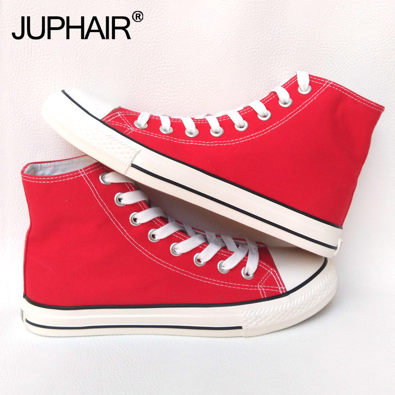 New Shoes Men Female Boy Girl Unisex Red High Low Canvas Flats Shoe Black Laces Shoelace Apartments Breathable Solid Color Sales