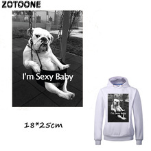 ZOTOONE Cool Sex Dog Patches for Clothing Cartoon Pug Iron on Transfer DIY Stripes Applique T-shirt Custom Patch Sticker