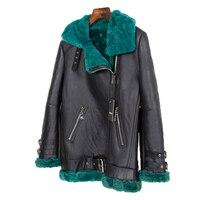 Vintage Double faced Fur Hood Outerwear Real Fur Coat Winter Jacket Women Parka Genuine Leather Merino Sheep Streetwear