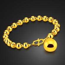 Fashion classic design brand jewelry. Goldc olorbell bracelet for woman/girl. 6MM 18cm golden wrist chain. Wedding gifts