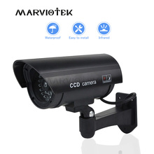 가짜 더미 카메라 야외 총알 카메라 방수 실내 홈 보안 비디오 감시 CCTV 카메라 깜박이 빨간색 LED