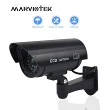 Fałszywe atrapa aparatu typu Bullet zewnętrzna kamera wodoodporna kryty bezpieczeństwo w domu kamera przemysłowa CCTV kamera z miga czerwona dioda LED