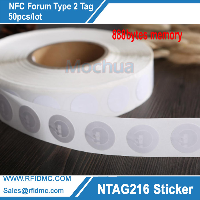 Ntag216 White NFC Stickers Tag Protocol ISO14443A 888 Bytes 25mm Diameter For All NFC Phones