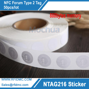 Image 1 - Ntag216 White NFC Stickers Tag Protocol ISO14443A 888 Bytes 25mm Diameter For All NFC Phones
