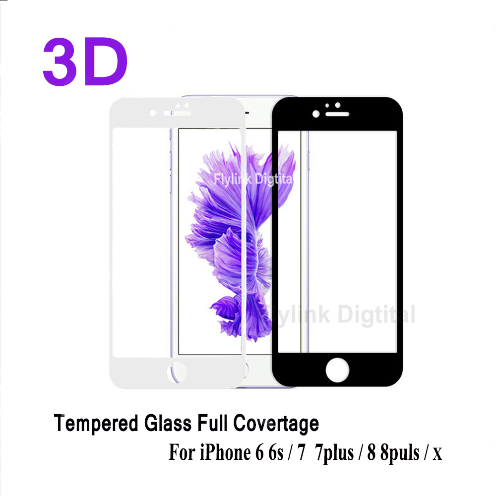 3D Tempered Glass Full Cover For iPhone 6 7 soft Curved Edge Screen Protector On The For iPhone 6 7 8 plus Protective Glass Film