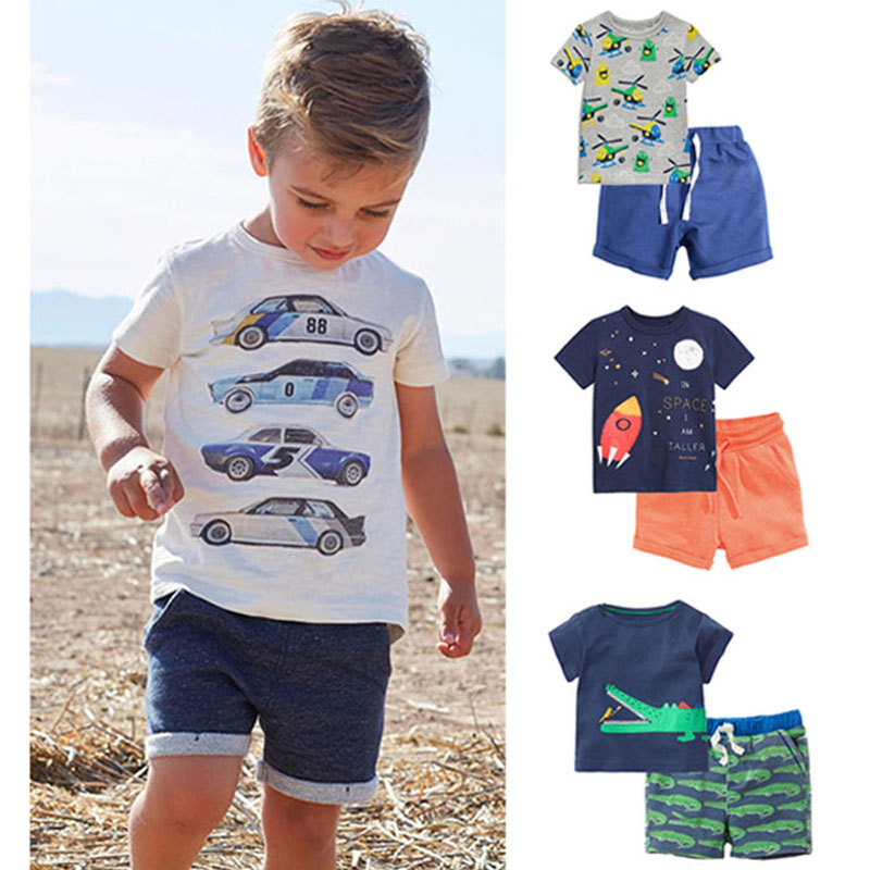 New 2018 Baby Boys Clothing Set Quality 100% Cotton Toddler Kids Clothes Short Sleeve Baby Boy Clothes Set Children Suit Outwear