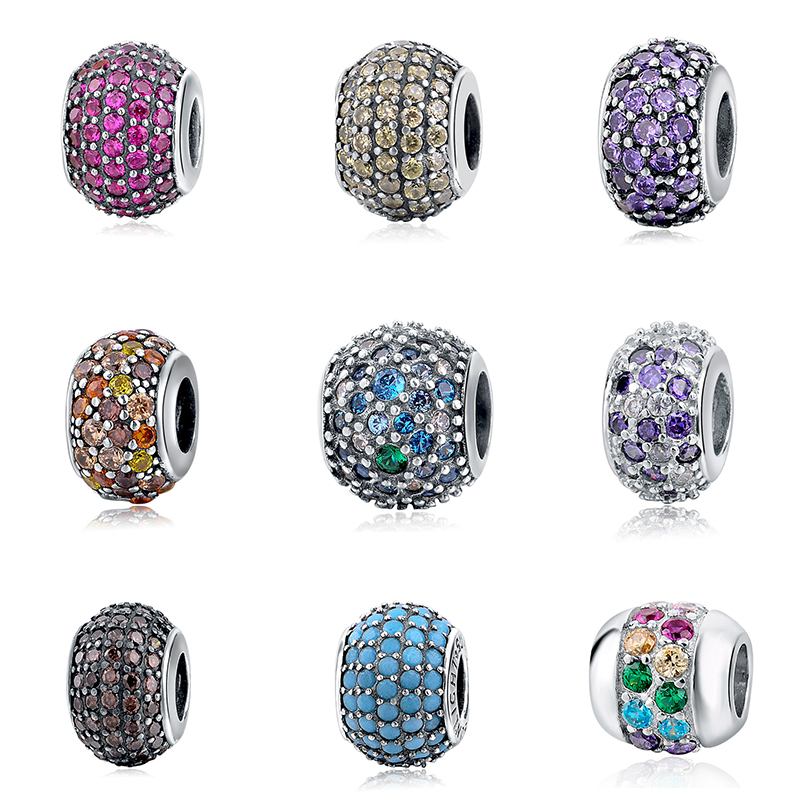 Colors Crystal CZ Stone Charms Fit DIY Charm 925 Original Beads Sterling Silver pandora Bracelets Authentic Jewelry Making gifts