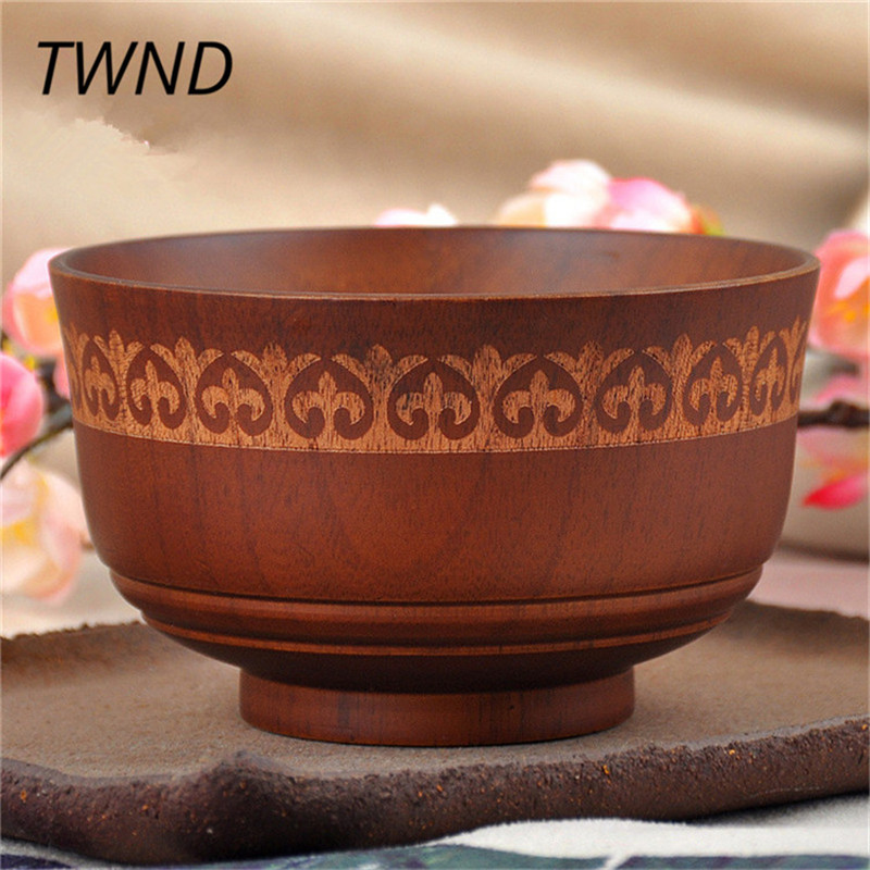 1pc Large Soup Bowl Wood Tigela Healthy Food Containers Dinner Dishes Vintage Salad Rice Japanese Style Tableware Elc 013 Bowls