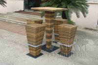 5pcs Brown PE Rattan Bar Set Home Balcony Garden Table And Chairs