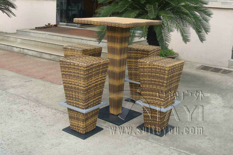 5pcs Brown PE Rattan Bar Set , Home Balcony / Garden Table And Chairs цена и фото