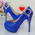2016 ручной работы мода Royle синий горный хрусталь свадебные туфли круглый носом высокий каблук шпильках пром ну вечеринку туфли на высоком каблуке Большой размер 12