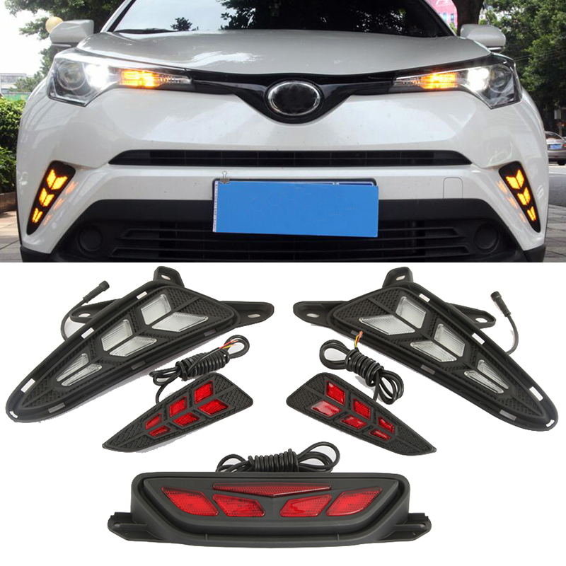For Toyota CHR C-HR 2017 2018 LED DRL Daytime Running Lights Rear Bumper Fog Lamp Turning Signal Brake Taillight Warning Light цена в Москве и Питере