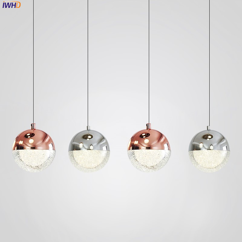 IWHD Nordic Modern Crystal LED Pendant Lights Dinning Living Room Glass Ball Lamp Hanging Lamp Hanglampen Lustre Pendente LED european 3 head lamp k9 crystal pendant lights creative glass lampshade hanging lamp for bar dinning room led lustre droplight