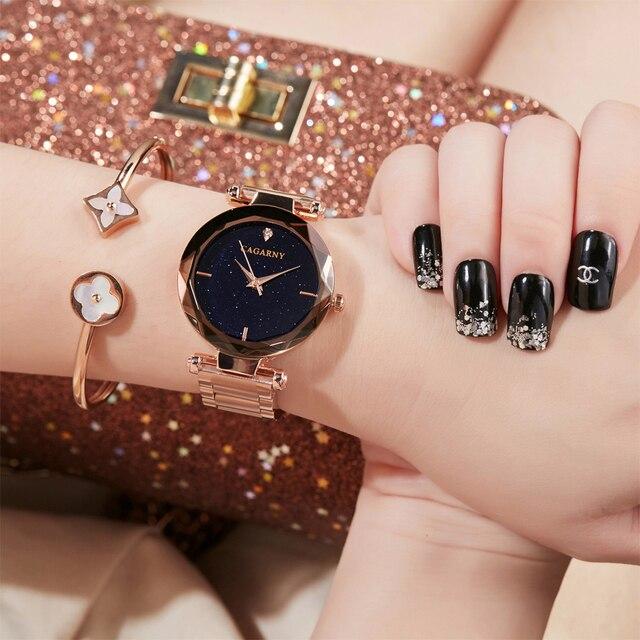 Cagarny Luxury Diamond Women Wrist Watch Ladies Rose Gold Steel Bracelet Watch s