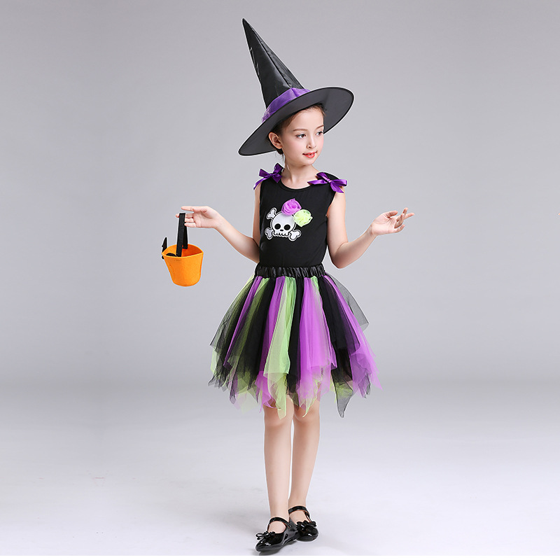 90ec1d324e591 Witch Dress Halloween Costumes For Girls 2 14 Year Teenager Fancy Tutu Dress  2018 New Toddler Clothing Halloween Outfit With Hat-in Dresses from Mother  ...