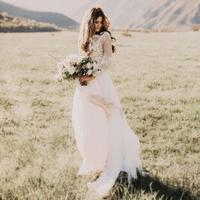 2018 Bohemian Country Sheer Neck Long Sleeves beach Lace Applique vestido de noiva Chiffon Boho Bridal Gowns cheap wedding dress