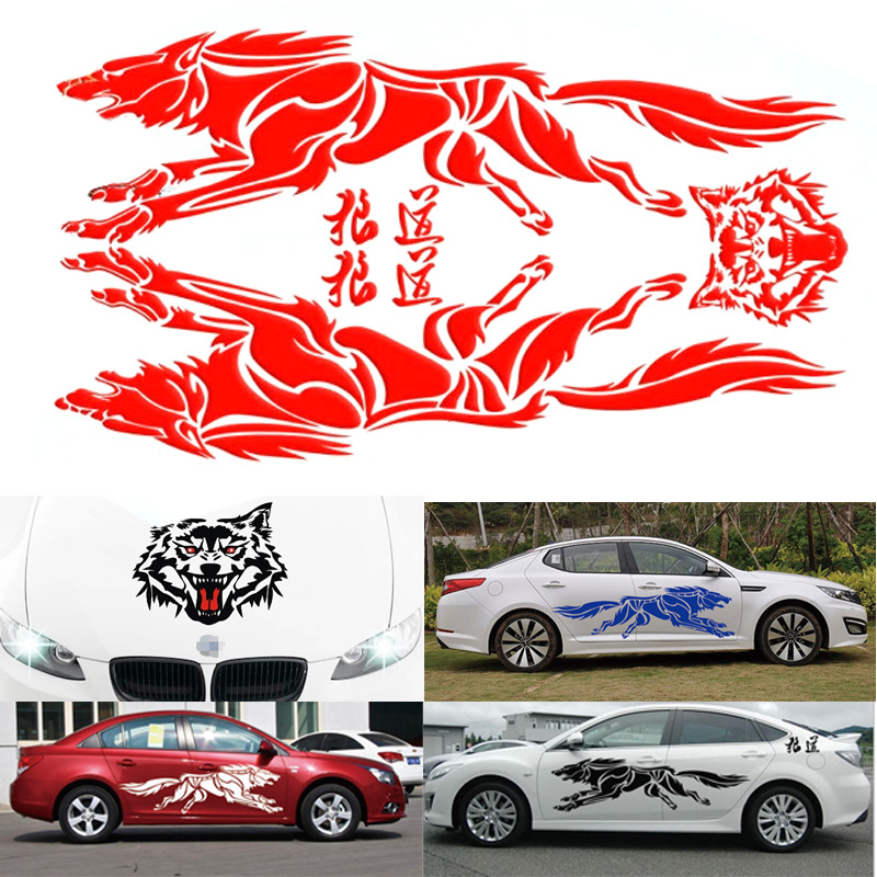 Hot Sale 5 Colors Whole Body Car Sticker on Wolf Case for Cars Acessories Decoration in Car Stickers from Automobiles Motorcycles