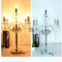 Home Led candle crystal candelabra 5 Head glass table Lamp Italy Restaurant lampada chrome Wedding Light Fixture E12/E14 LUZ led