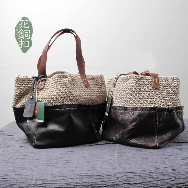 Free shipping women's handbag handmade fluid line woven bag vintage genuine leather handbag