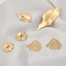 Bronze plated 18K true gold hollow leaf mirror Lasiyezi earring material DIY ear pendant accessories