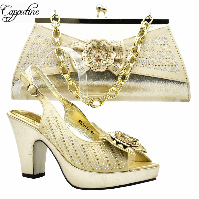 Capputine Latest Gold Color Italian Shoes And Bags To Match Set Summer African High Heels Shoes And Bag Set For Party DF-011 high quality heels pumps shoes african design women shoes and bag set to match italian shoes with matching bags set me3316