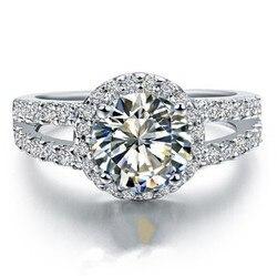 Твердых платины PT950 кольцо 2CT круглый протектор блестящего алмазного Обручение кольцо красивое Ювелирное Украшение на день рождения для не...