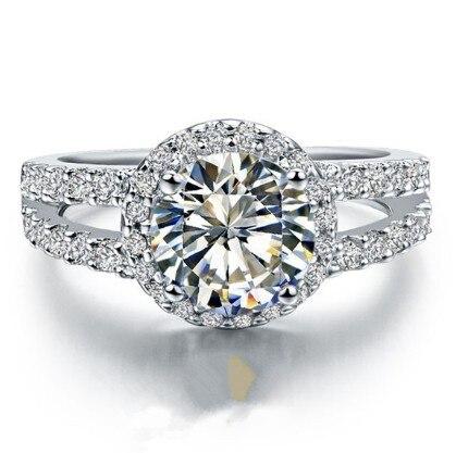 Solid Platinum PT950 Ring 2CT Round Brilliant Diamond Engagement Ring lovely Birthday...