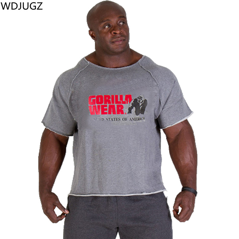 Sommer Männer der Marke Kleidung männer T-Shirt Fitness Muskel männer Bodybuilding Gorilla Kleid Hemd Fledermaus Ärmel Tücher Top MMA-1
