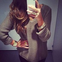 New Fashion Solid Color V Neck Long Sleeve Women Kintted Sweaters Hot Selling Casual Loose Vintage