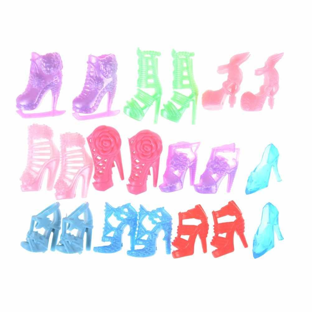 1/10 pares de Moda Coloridas Sandálias Bandagem Arco Sapatos de Salto Alto para Boneca Acessórios Roupas Vestido Miúdo Brinquedo