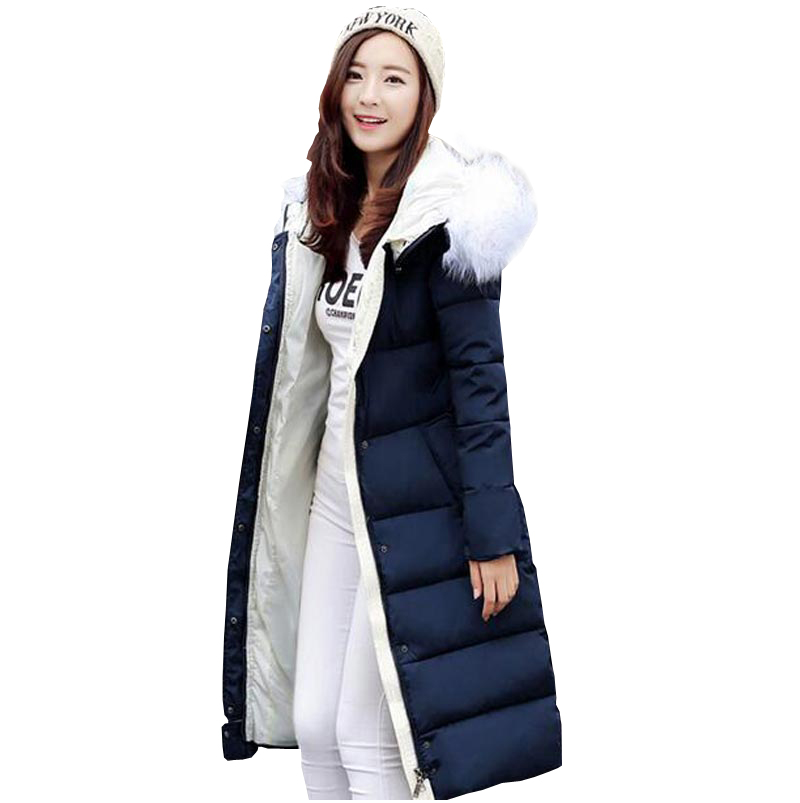 2016 brand new fashion down jacket women long thicken plus size cotton-padded coat big faux fur collar hooded women parka kp0791 long parka women winter jacket plus size 2017 new down cotton padded coat fur collar hooded solid thicken warm overcoat qw701
