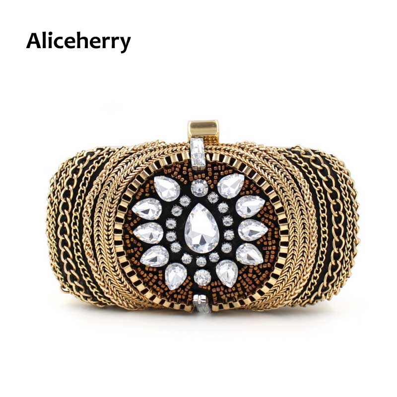 Aliceherry Mujeres Bolsos de Embrague Bolsos de Noche de Diamantes Señoras Caden