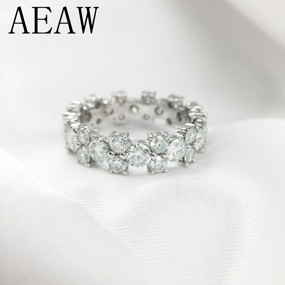 AEAW 3mm and 4mm Full Diamond DF Color Moissanite Engagement ring in 14K White Gold-in Rings