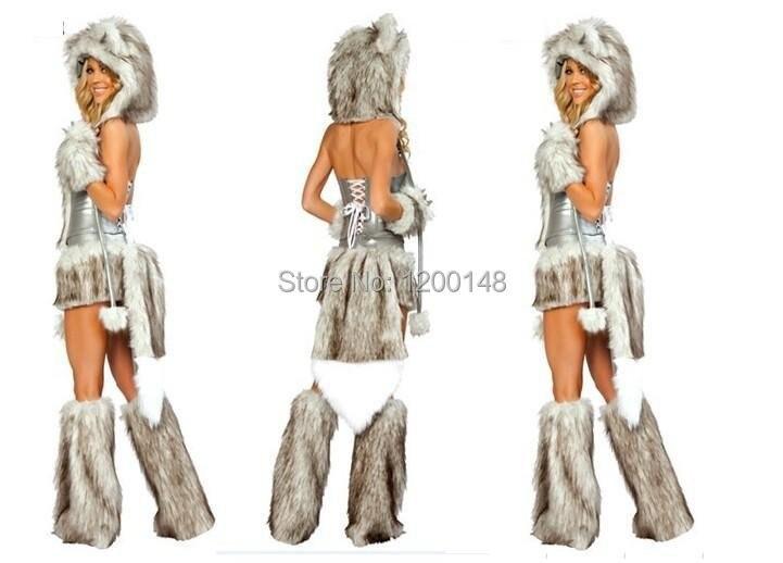 Hot Vender Pele De Lobo Cinzento Sexy Trajes As Mulheres Vestido
