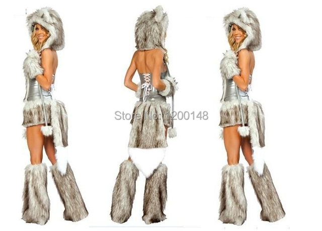 Hot Sell Gray Wolf Sexy Fur Costumes Women Animal Halloween Dress