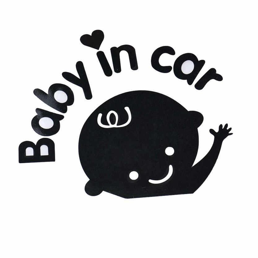 17*14.9 Cm Bayi Di Mobil Melambaikan Cate Bayi Di Papan Tanda Keselamatan Mobil Decal Sticker Hitam dan Putih jendela Belakang Emblem Samping Aksesori