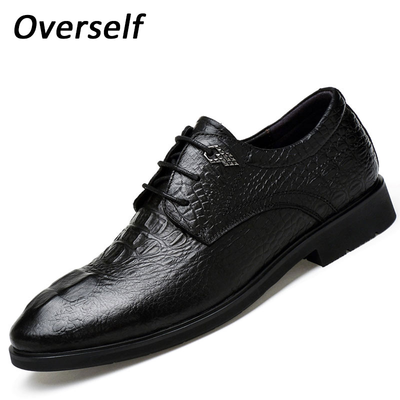 2017 Men's dress shoes New Crocodile Style mens formal leather shoes Crocodile High Quality Business Oxford Cow Genuine Leather top quality crocodile grain black oxfords mens dress shoes genuine leather business shoes mens formal wedding shoes